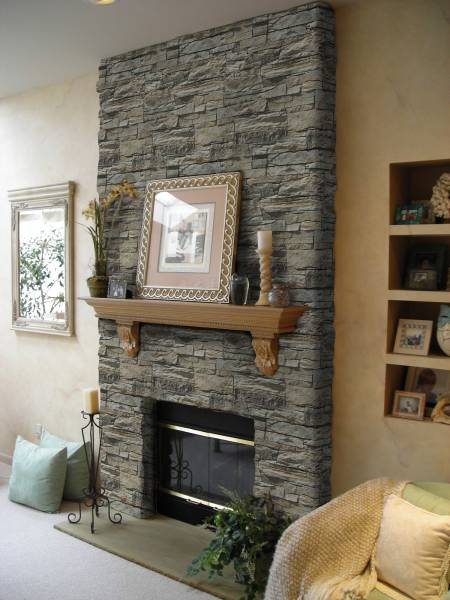 Create an amazing visual centrepiece by decorating your chimney breast with stone