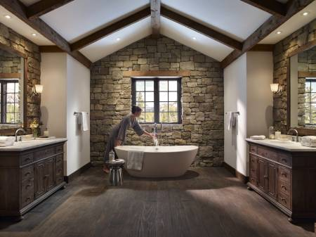Rustic bathroom after decorative stone wall cladding