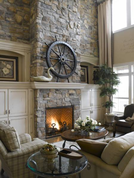 Faux stone panels to decorate your living room
