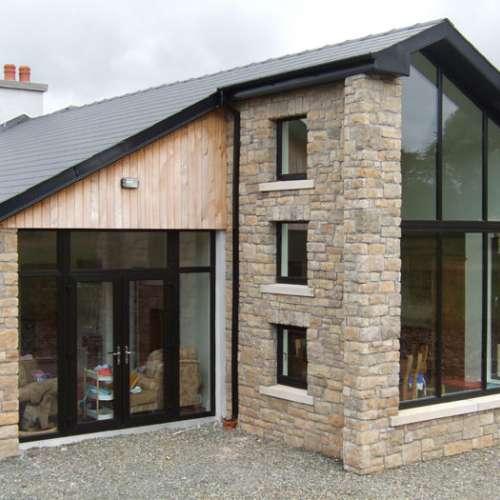 Stone cladding around house windows