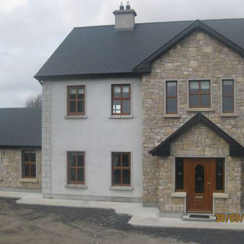 Modern home using stone cladding