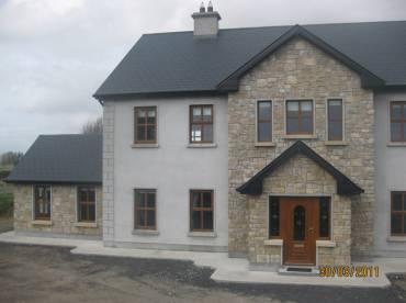 Modern home using stone cladding