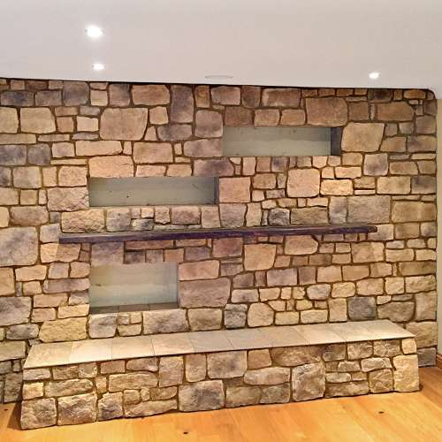 Roughcut Vineyard Trail living room wall stone cladding