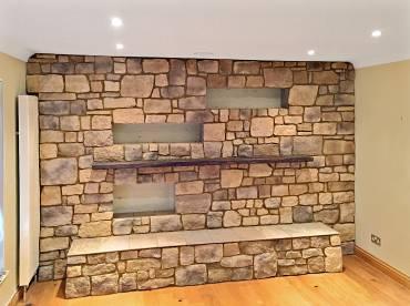 Roughcut Vineyard Trail living room wall stone cladding