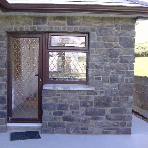 House back door stone cladding