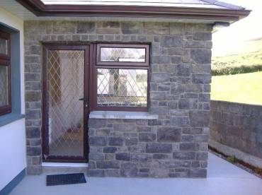 House back door stone cladding