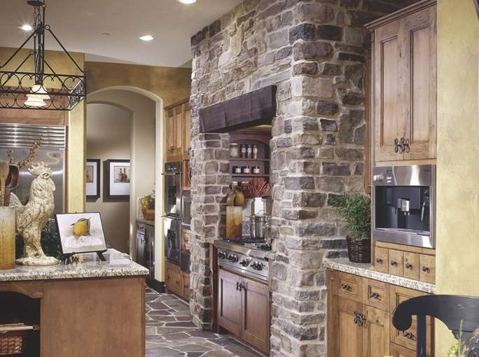 Stacked Stone Wall In Kitchen