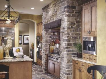 Kitchen range limestone cladding