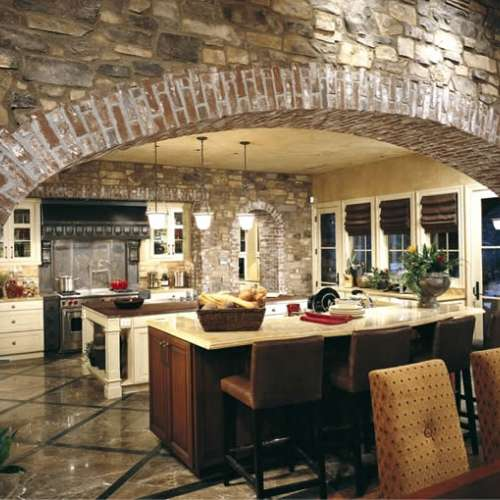 Kitchen stone cladding using Meseta and brick
