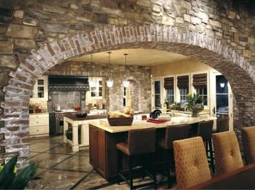 Kitchen stone cladding using Meseta and brick