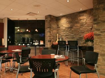 Hotel breakfast bar using Veneto stone cladding