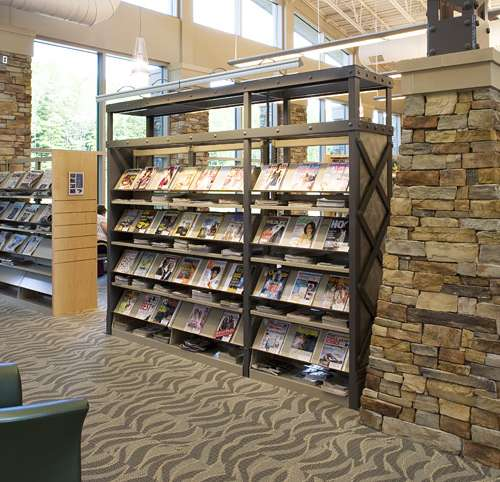 Library interior decorated with Cliffstone Cambria