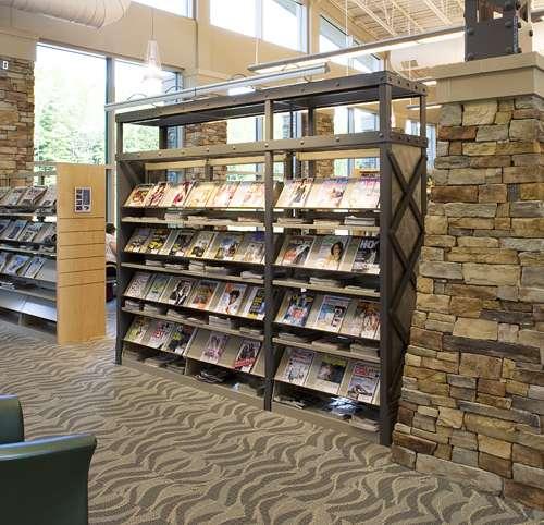 Library interior decorated with Cliffstone Cambria