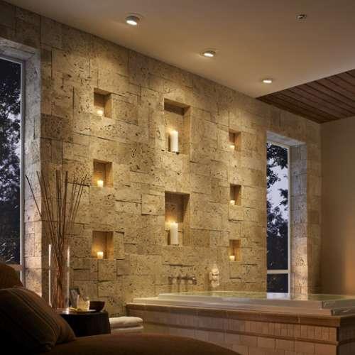 Bathroom walls stone cladding