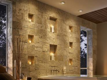 Bathroom walls stone cladding