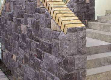 Exterior stairs stone cladding corner detail