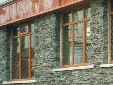 Stone cladding corner detail around windows